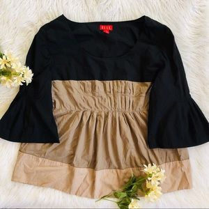 Elle black/tan XL 3/4 bell sleeve top